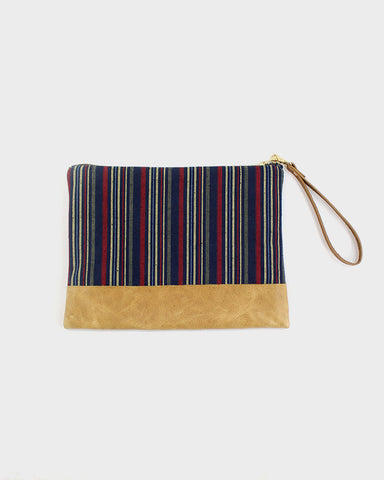 Shima Leather Clutch, Indigo and Red