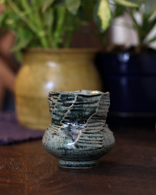 Kelly Pottery, Faceted Yunomi Green Speckled