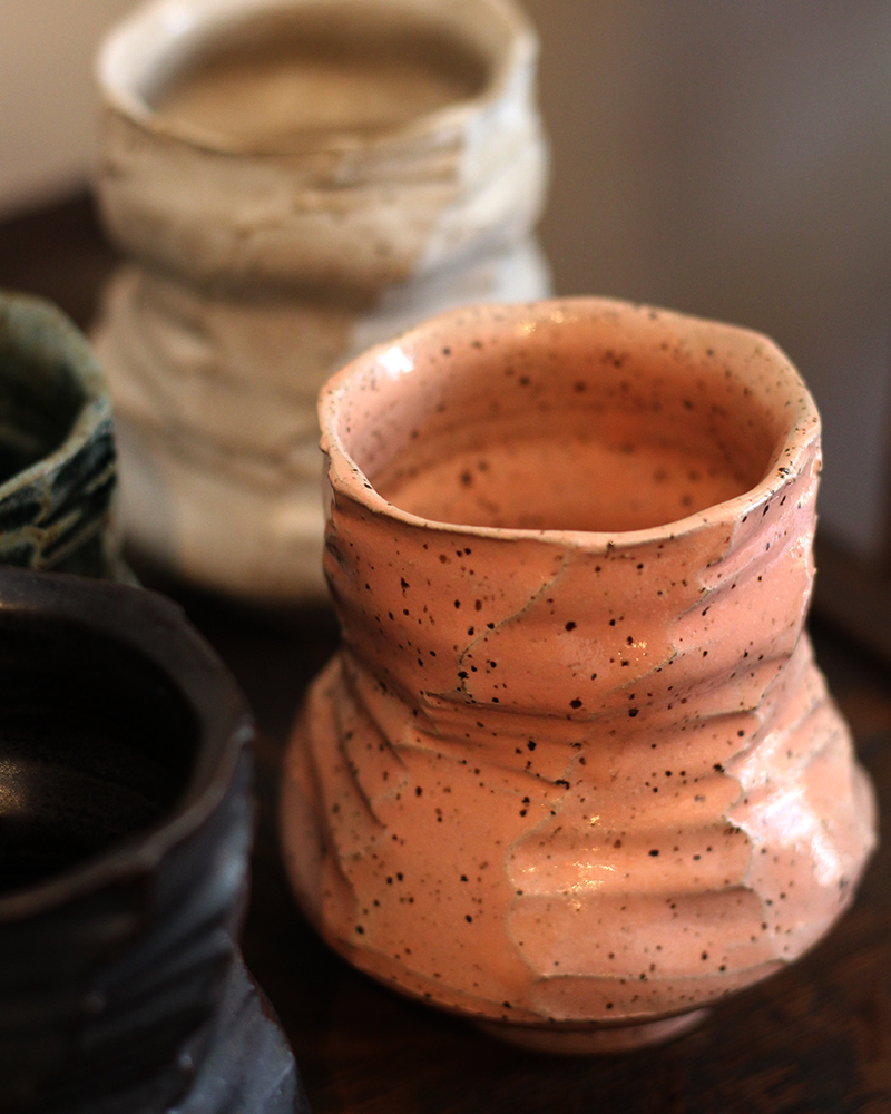 Kelly Pottery, Faceted Yunomi Salmon Speckled