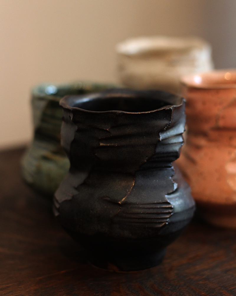 Kelly Pottery, Faceted Yunomi Black
