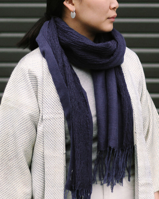 Kobo Oriza Plain Weave and Crepe Split Indigo Scarf