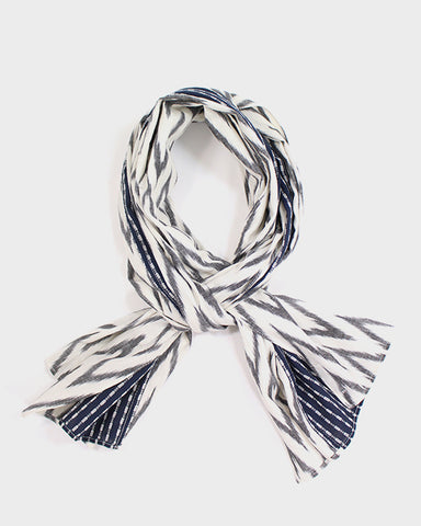 Triple Split Scarf Blue and White