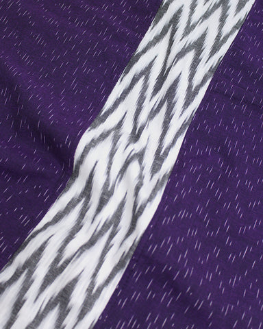 Triple Split Scarf Purple and White Ikat