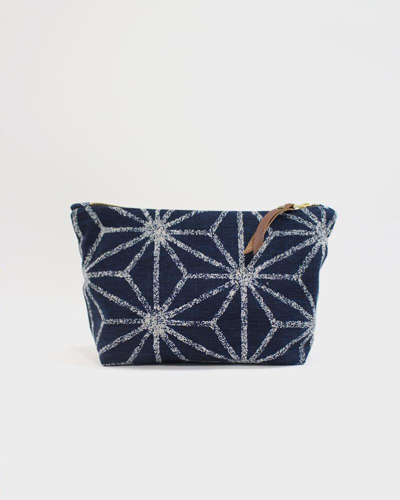 Stand-up Pouch, Navy Large Asanoha