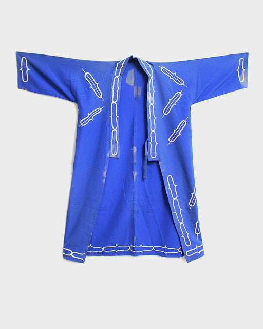 Ainu Jacket, Light Blue With Hand Embroidery