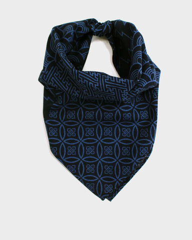 Bandana Two Tone Indigo Large Multi Pattern