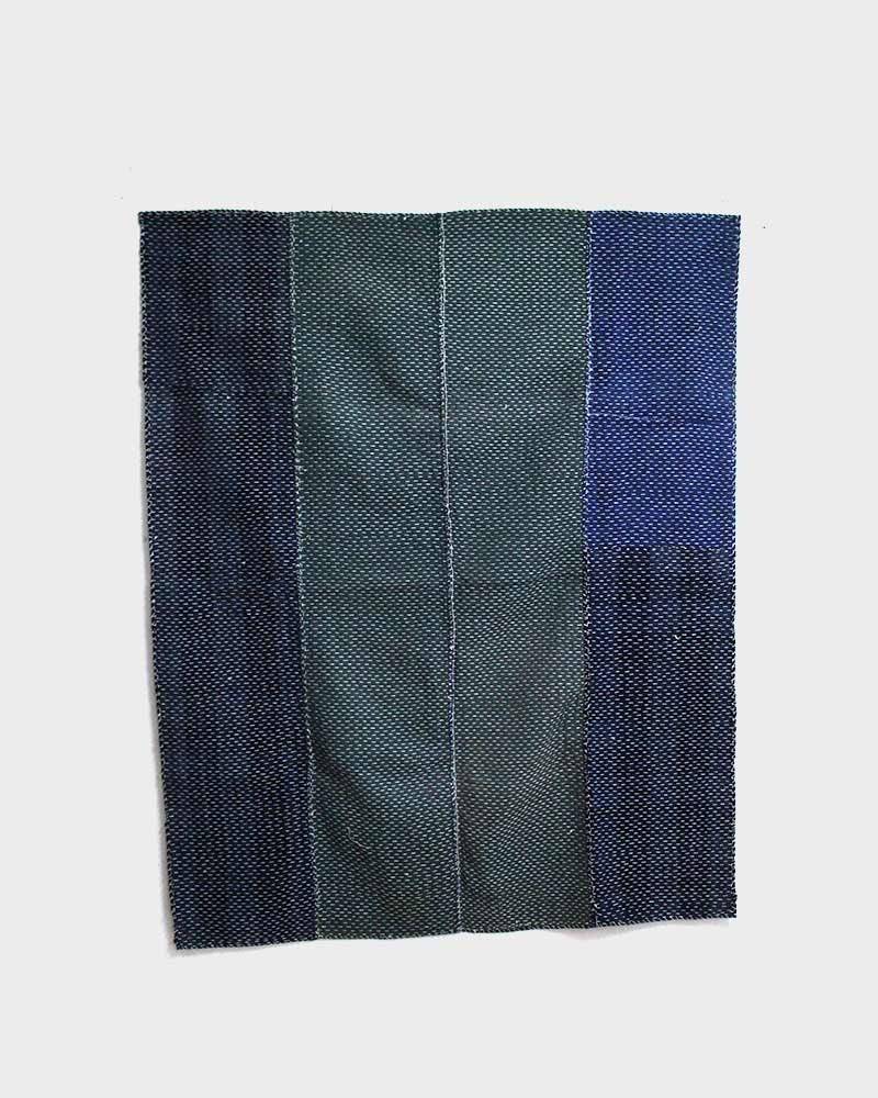 Vintage Boro Blanket, Green and Indigo Split with Sashiko