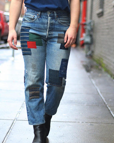 "One of a Kind Levi's 501 Vintage Selvedge Patched Denim, ""Boro Pocket"""