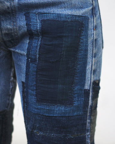 "One of a Kind Levi's 501 Vintage Selvedge Patched Denim, ""Plaid"""