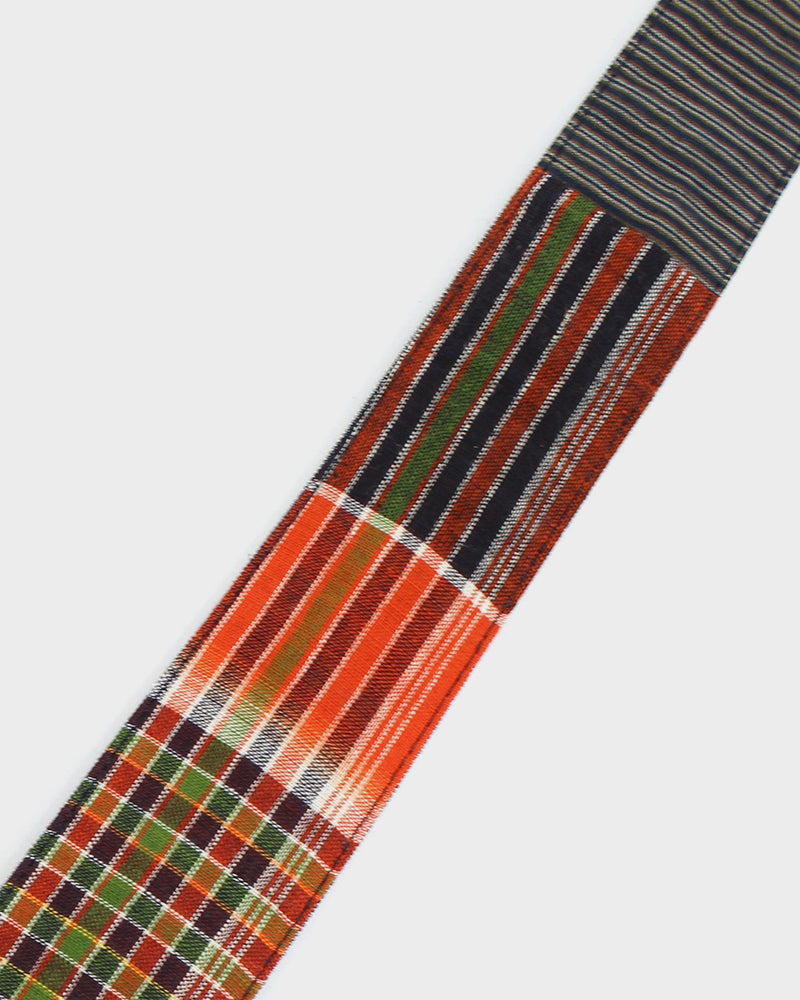 Boro Tie Indigo Shima with Orange and Green Plaid