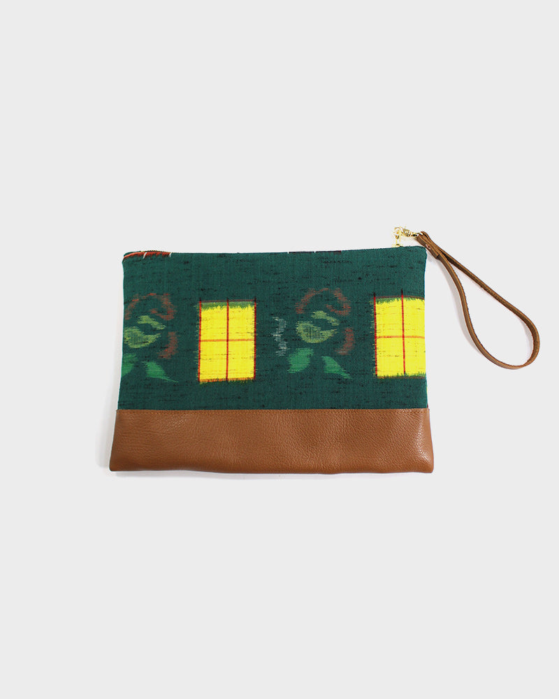 Green with Yellow and Orange Kasuri Flowers Short Clutch