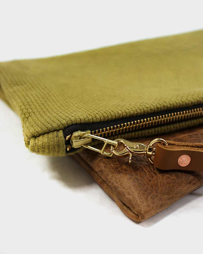 Foldable Uguisu-cha Leather Clutch