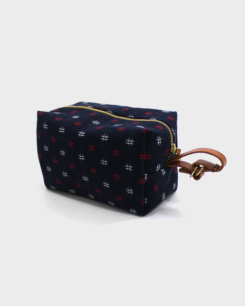 Dopp Kit, Red Kasuri-Ori Midnight Igeta