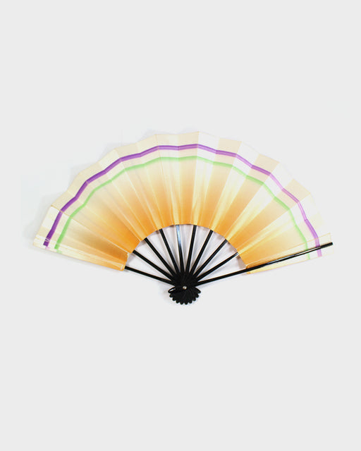Vintage Fan, Orange Ombre with Purple and Green Stripe