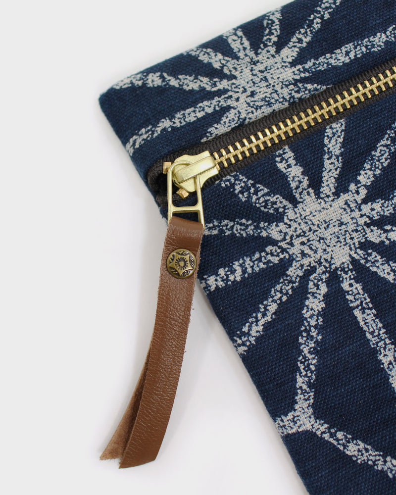 Flat Small Zipper Pouch, Indigo Large Asanoha