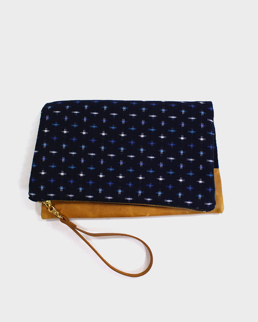 Foldable Kasuri-Ori Blue and White Clutch