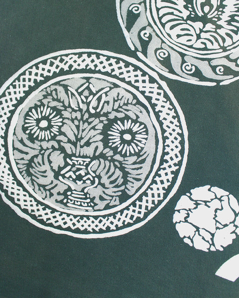 Vintage Furoshiki, Green Abstract Floral Pattern in Circles