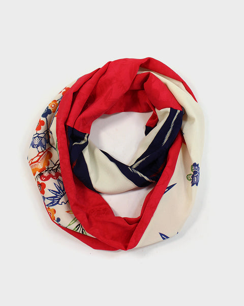 Kimono Off-White Gardenscape, Red and Purple Infinity Scarf
