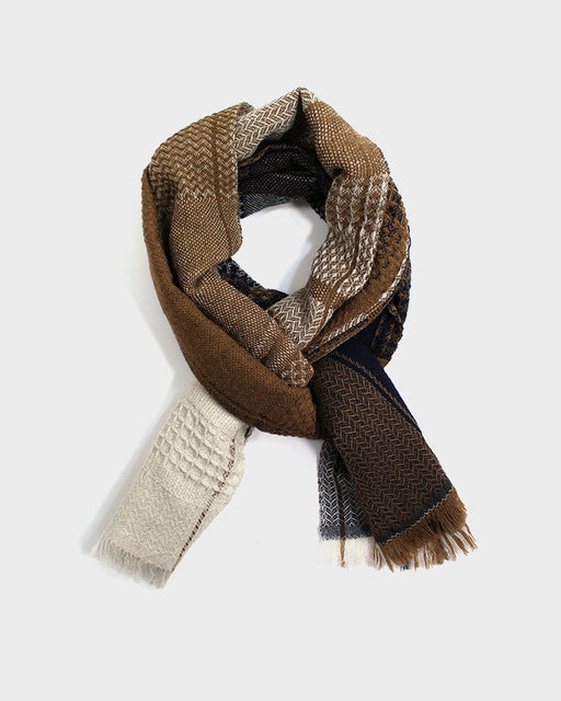 Kobo Oriza Double Weave Black and Mustard Plaid Scarf