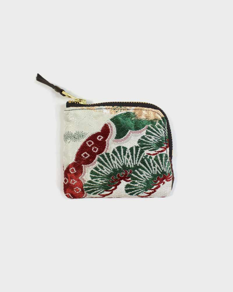 Zipper Wallet, White, Green and Red, Pine and Gosho Guruma Obi Wallet