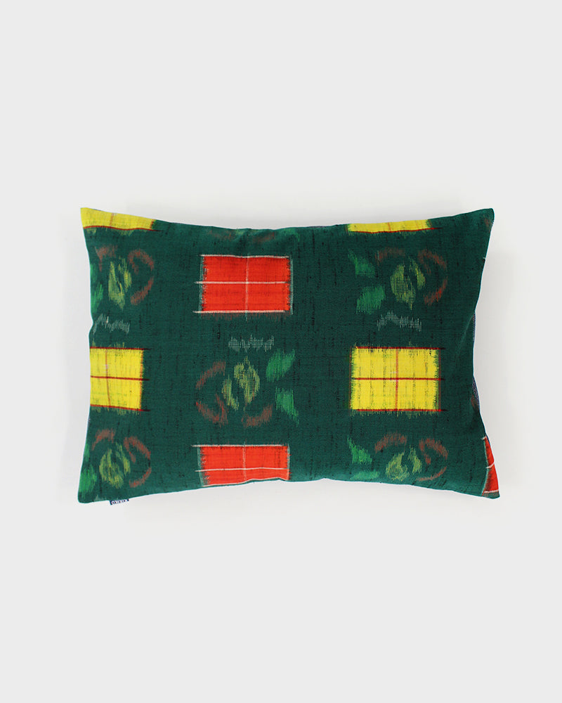 Pillow Green with Yellow and Orange Kasuri Flowers