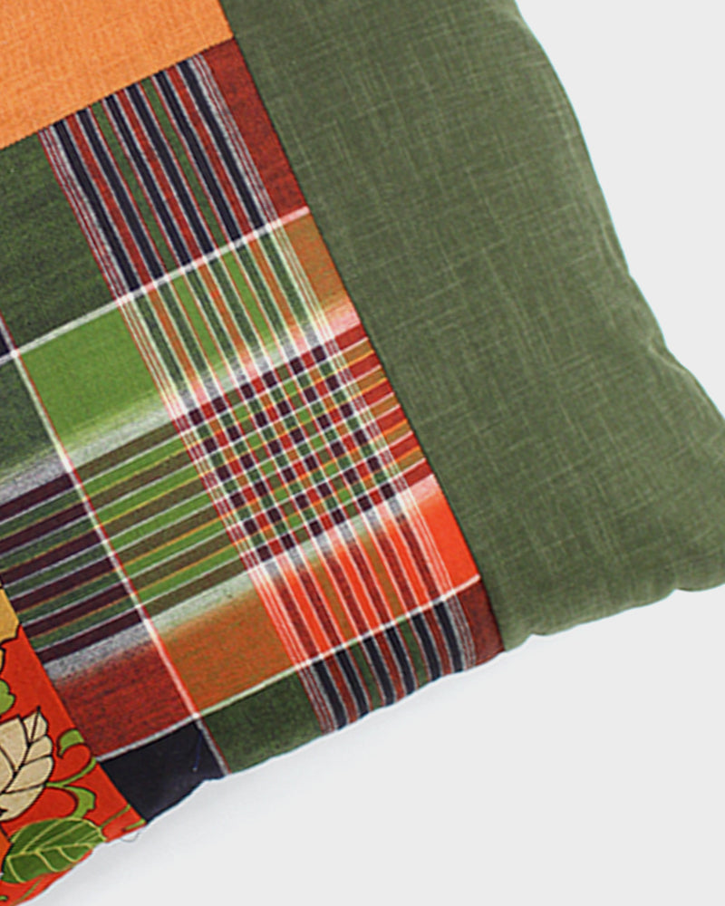 Patchwork Pillow, Orange and Green, Plaid with Flowers