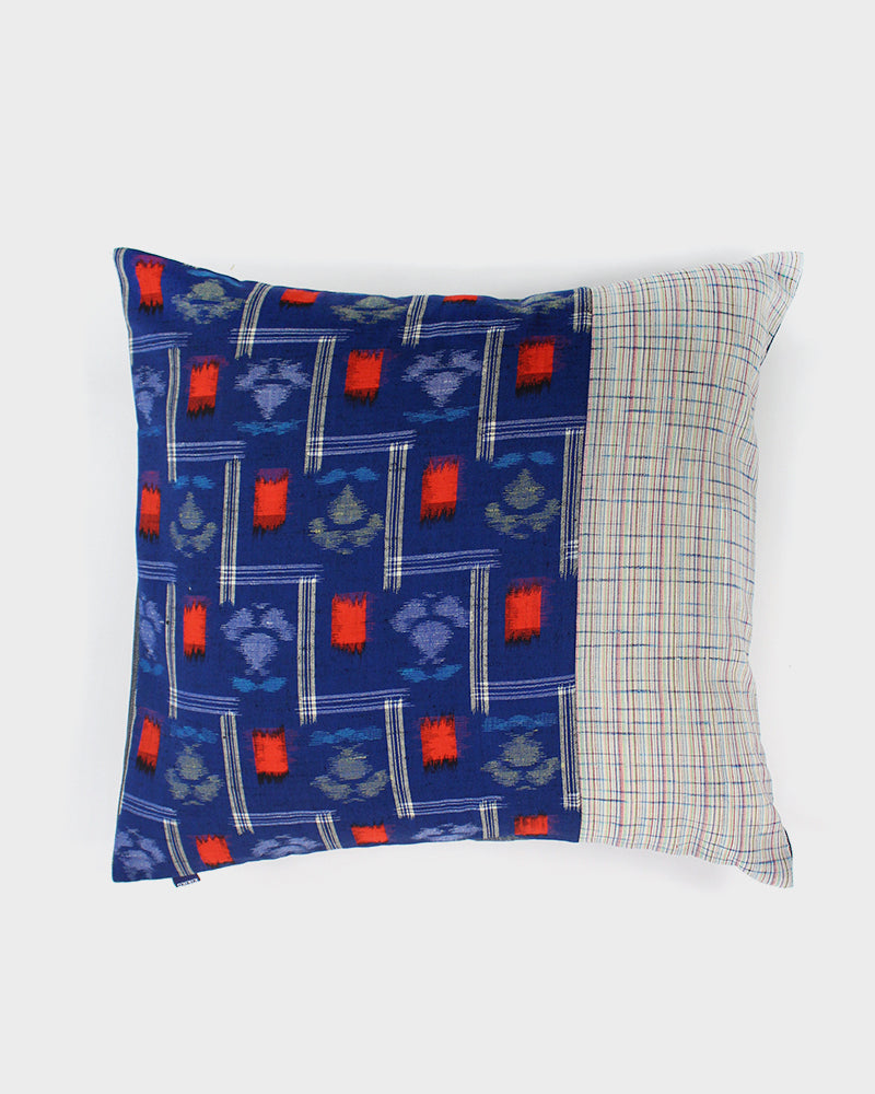 Patchwork Pillow, Split Indigo with Red Kasuri Floral and White Multi-Color Plaid