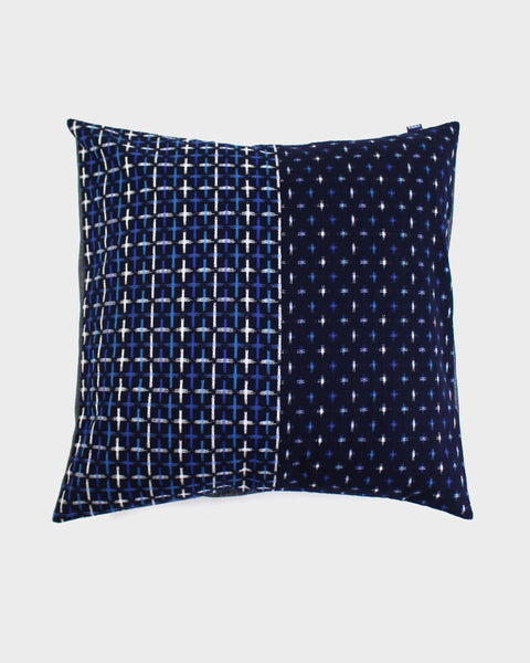 Pillow Split Indigo Kasuri-Ori Cross