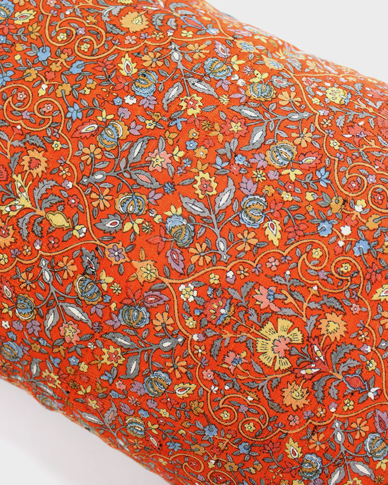 Orange Floral with Blue and Yellow Pillow