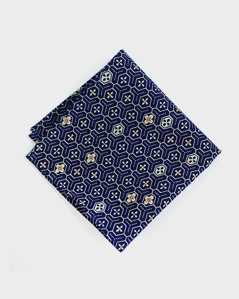 Pocket Square Blue Kikko and Flower