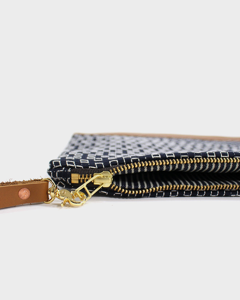 Indigo Sashiko Short Clutch