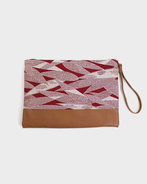 Red Bamboo Leaf Short Clutch