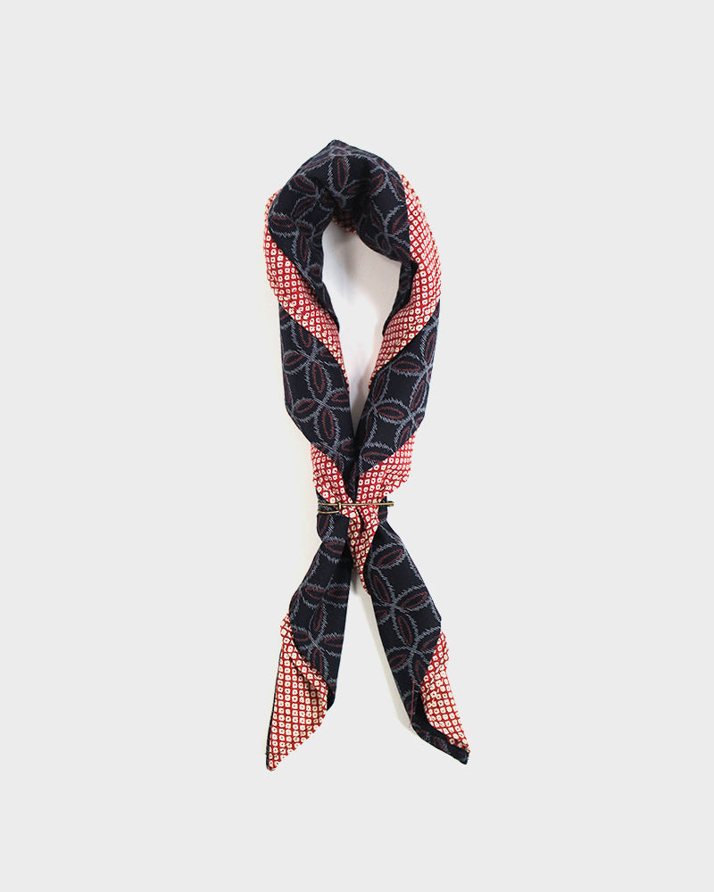 Split Bandana Red Kasuri Shippou and Red Shibori