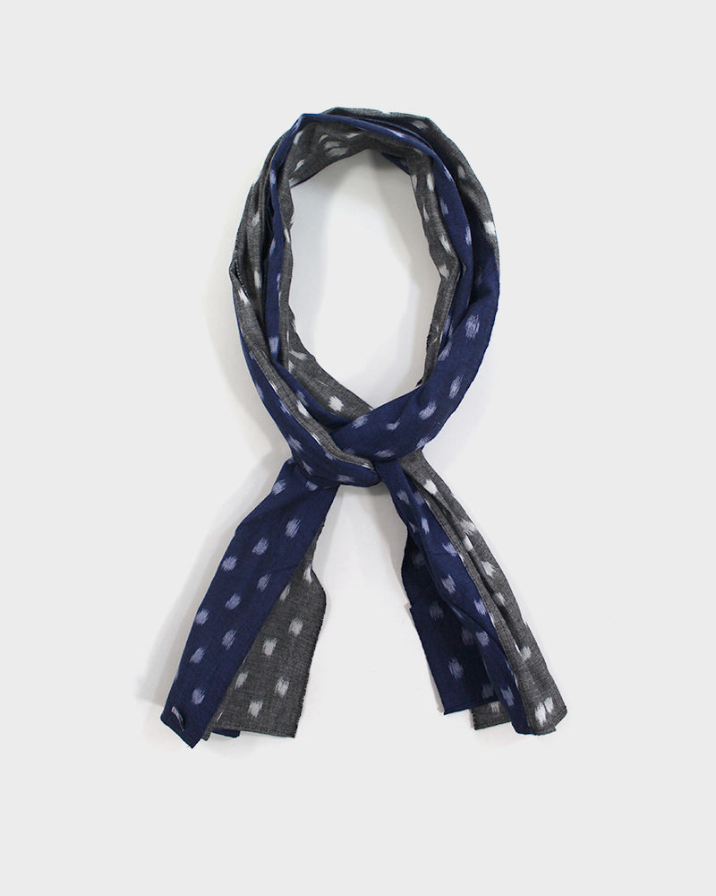 Double Split Scarf, Blue and Grey Kasuri Dot