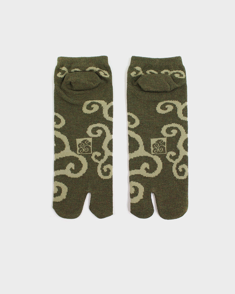 Tabi Ankle Socks, Green Karakusa