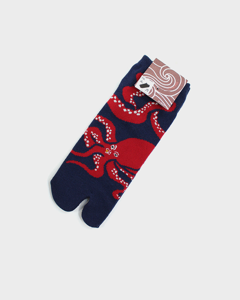 Tabi Ankle Socks, Dark Blue and Red Tako (M/L)