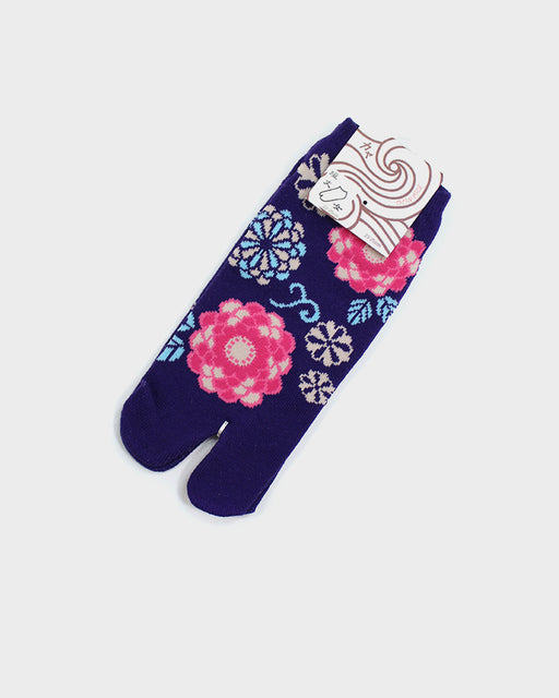 Tabi Ankle Socks, Purple with Blue and Pink Kiku (S/M)