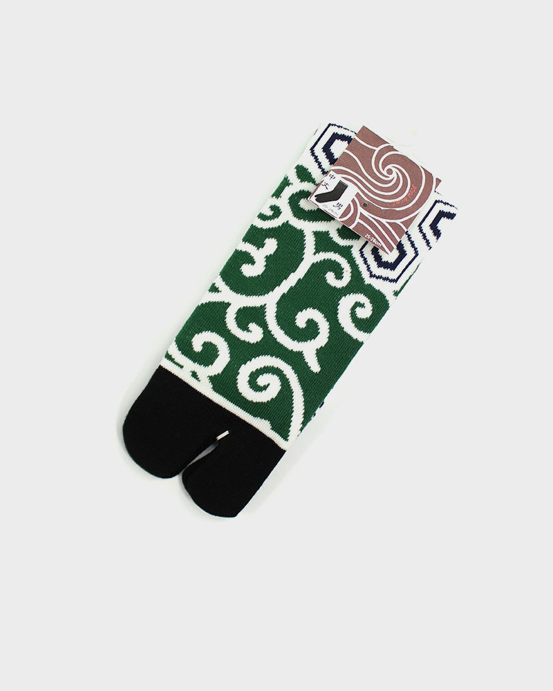 Tabi Socks, Green and White Kikko and Karakusa (M/L)