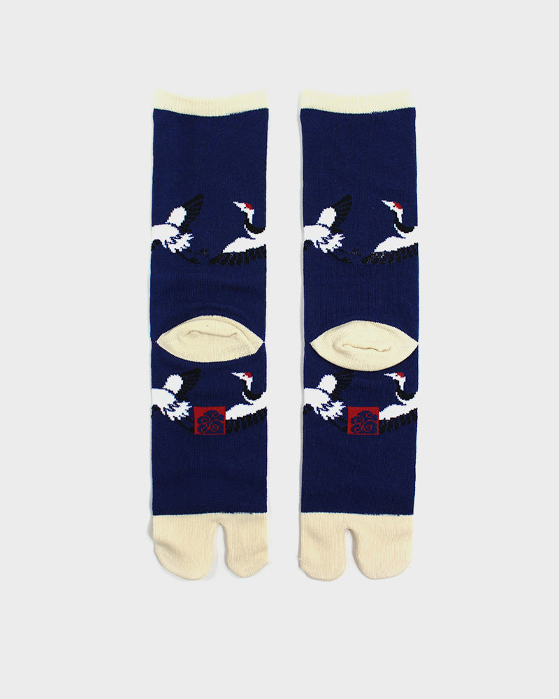 Tabi Socks, Indigo and Cream Crane