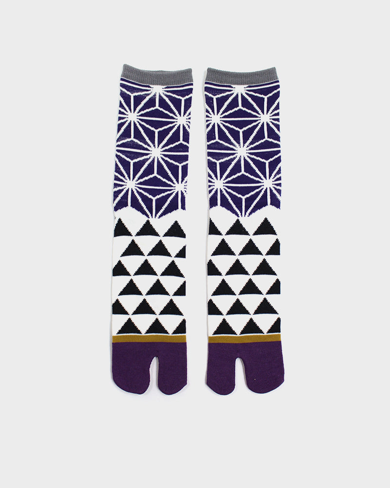Tabi Socks, White and Purple Asanoha and Urokomon (M/L)