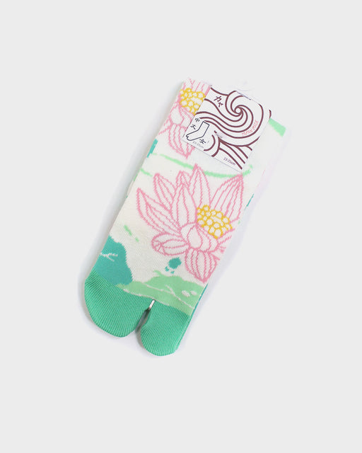 Tabi Socks, Green and Pink Lotus Flower (S/M)