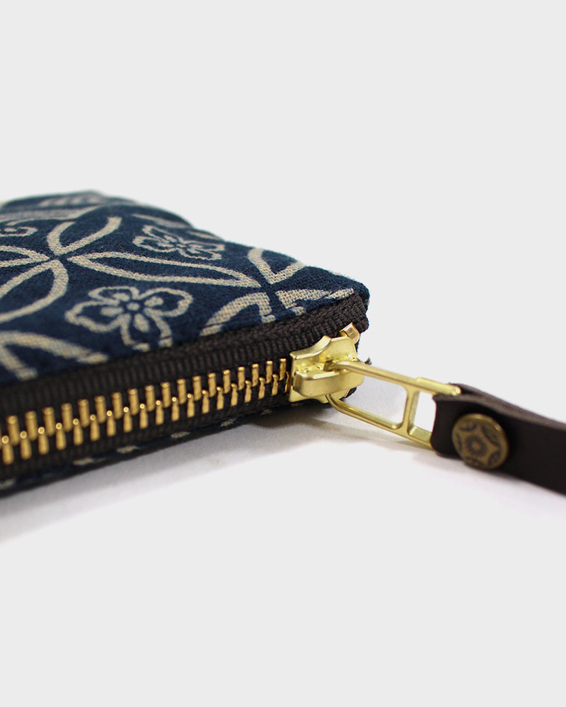 Zipper Wallet, Indigo Large Multi Pattern