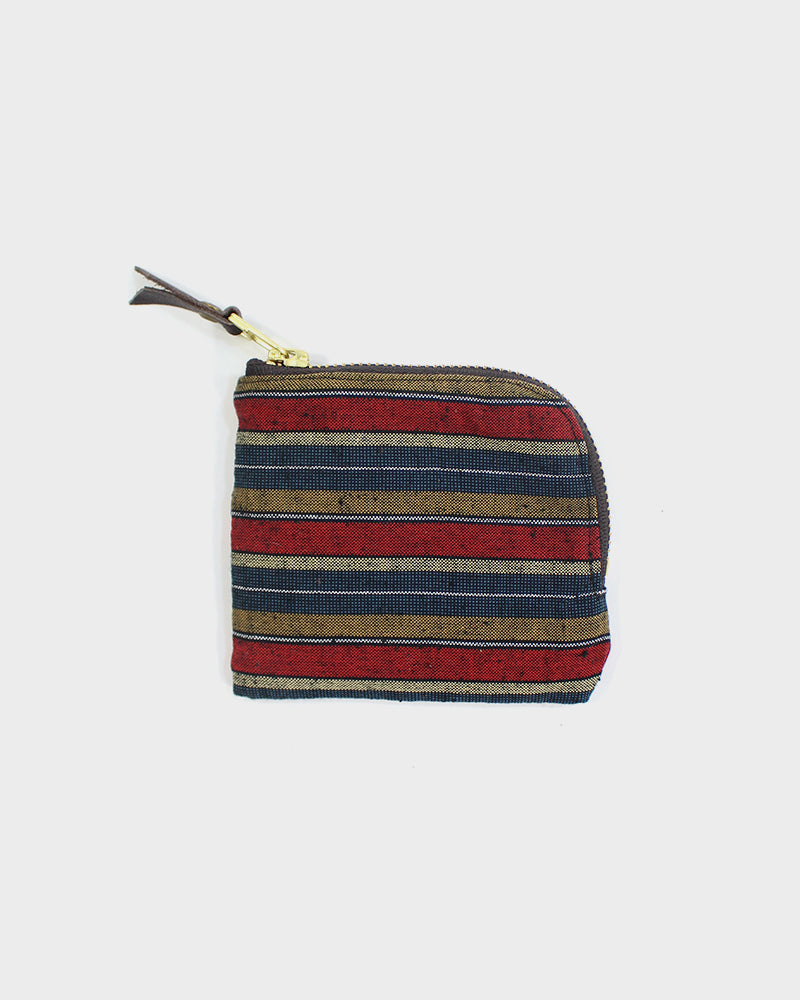 Zipper Wallet, Red and Indigo horizontal Shima