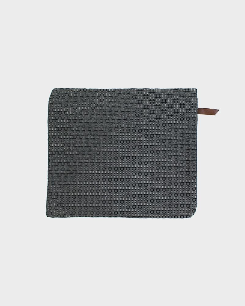 Flat Medium Zipper Pouch, Grey Sashiko