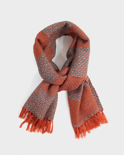 Kobo Oriza Wool Herringbone Muffler, Orange