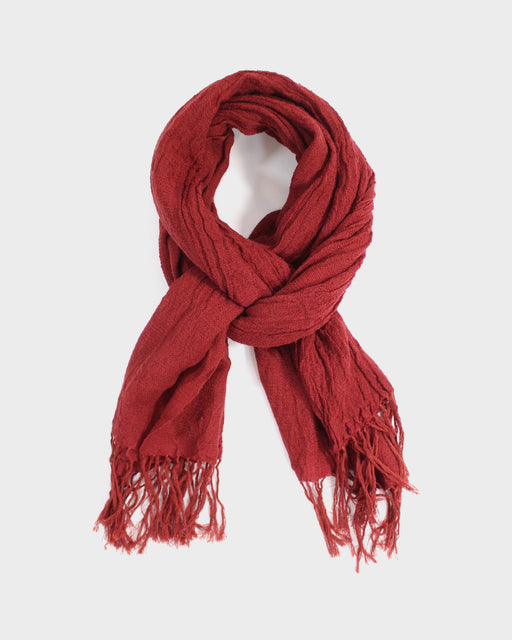 Kobo Oriza Wool Blend, Wavy Shawl, Brick Red
