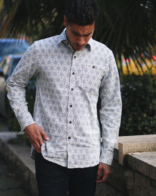 Button-Up Shirt Long Sleeve White Asanoha