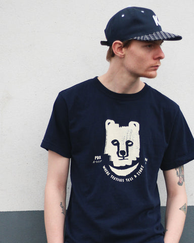 Printed Kuma 9oz Tee, Navy
