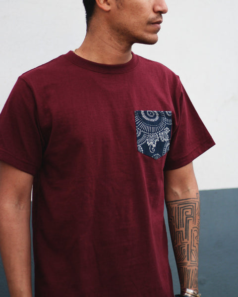 9oz Pocket Tee, Burgundy