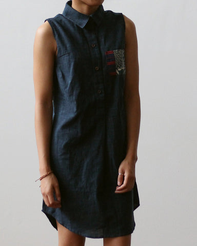 Women's Long Sleeveless Shirt Dress, Vintage Pocket